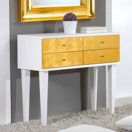 Commode blanche avec 4 tiroirs feuille d'or Etty made in italy