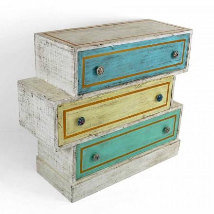 Commode avec tiroirs colorés et boutons en céramique Made in Italy - Hendriks