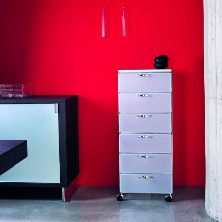 Commode de design avec 6 tiroirs en polypropylène blanc ou gris Adamo