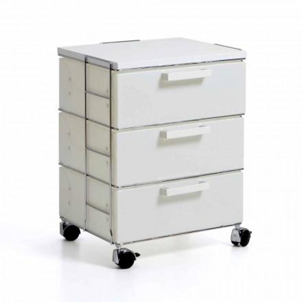 Commode de design moderne avec 3 tiroirs blancs et top en mdf Valerie