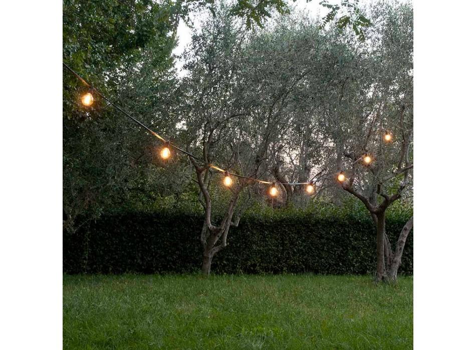 Câble d'extérieur en néoprène avec 8 porte-ampoules et 2 crochets Made in Italy - Festa