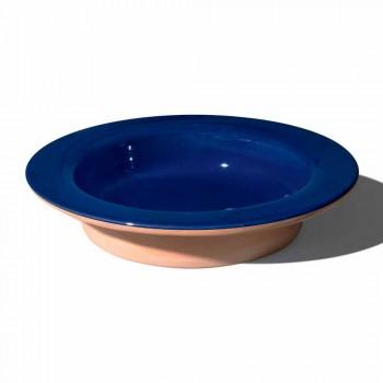 Centre de table rond en terre cuite et céramique émaillée Made in Italy - Brooke