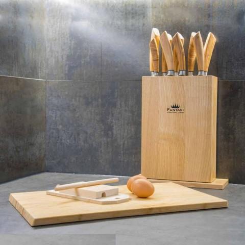 Bloc magnétique en bois avec 9 couteaux de cuisine Made in Italy - Bloc