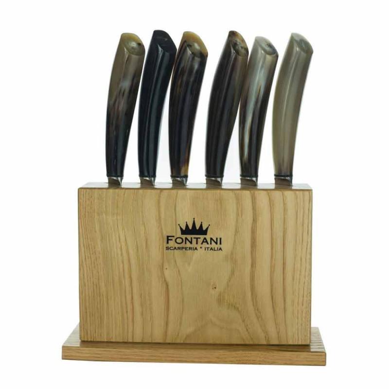 Bloc en bois d'olivier avec 6 couteaux à steak Made in Italy - Bloc