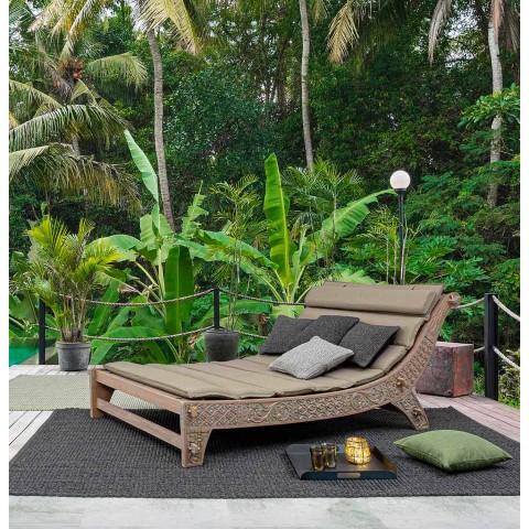 Chaise longue d'extérieur au design moderne en bois de teck Homemotion - Giobbe