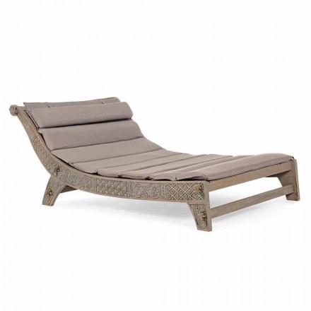Chaise longue d'extérieur en bois de teck avec incrustations Homemotion - Giobbe