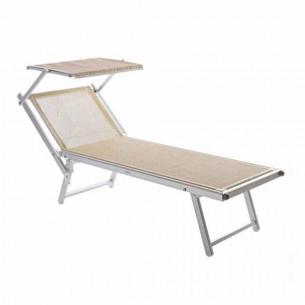 Chaise longue de jardin moderne avec parasol et dossier inclinable - Arnold