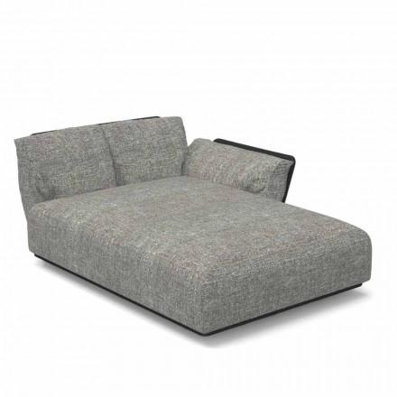 Chaise longue de jardin modulable tissu gauche et aluminium - Talent Set