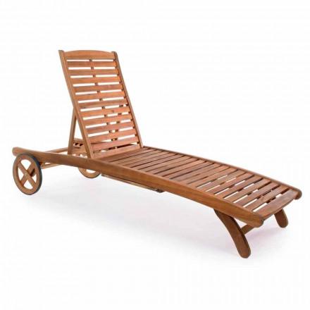 Chaise longue de jardin en bois avec roues design pour l'extérieur - Roxen