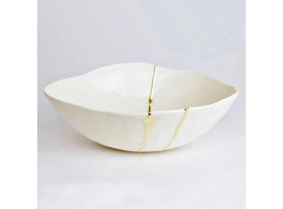 Bols en porcelaine blanche et feuille d'or design de luxe italien - Cicatroro