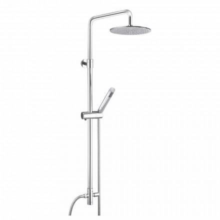 Colonne de douche à section ronde en laiton avec douchette à main Made in Italy - Amadeo