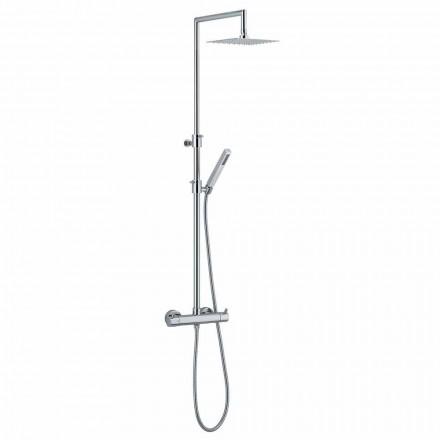 Colonne de douche en laiton chromé avec flexible et douchette fabriquée en Italie - Griso