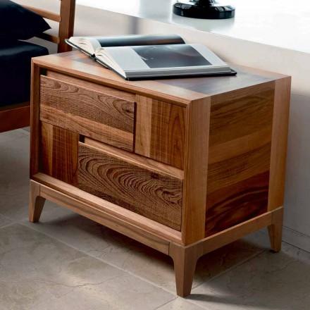 Commode 2 tiroirs en bois massif de noyer de design moderne, Nino