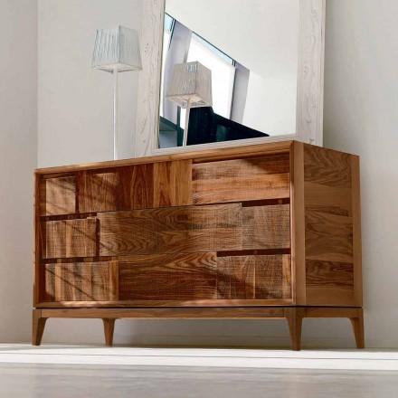 Commode avec 3 tiroirs de design moderne en noyer massif, Nino