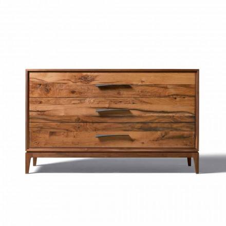 Commode 3 tiroirs noyer design moderne, L131 x P55 x H80 cm, Sandro