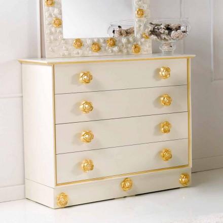 Commode en bois 4 tiroirs de design avec boutons en forme de rose