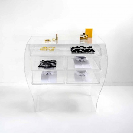 Commode avec 5 tiroirs en plexiglas transparent Billy, faite en Italie