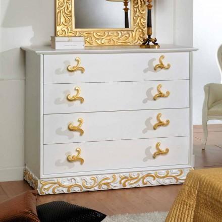 Commode de design avec 4 tiroirs en bois Kush, fait à la main