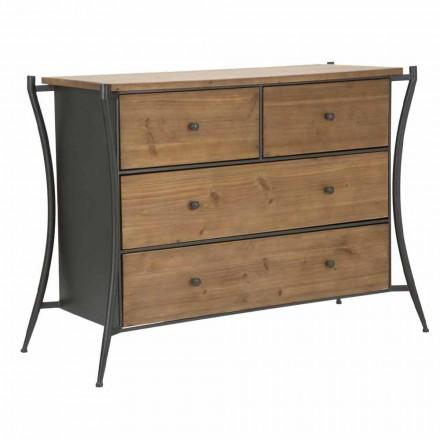 Commode design avec 5 tiroirs en sapin et fer - Doran