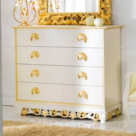 Commode en bois de design avec 4 tiroirs Zucchi, fait à la main.