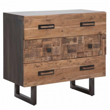 Commode en bois d'acacia et fer avec 3 tiroirs de design moderne - Émeraude