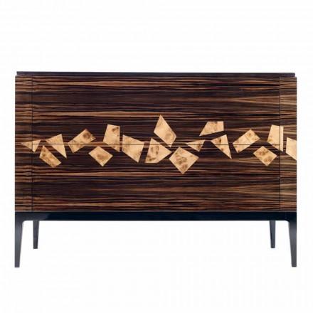 Commode design italien Grilli Zarafa 4 tiroirs en bois d'ébène