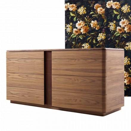 Bahut en bois massif et cuir de design Grilli York, made in Italy