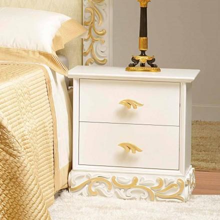 Table de nuit  avec 2 tiroirs en bois avec décorations en or Kush