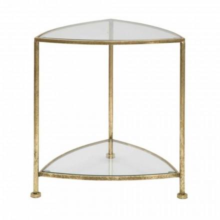 Table de chevet triangulaire de design moderne avec 2 étagères en fer et verre - Kira