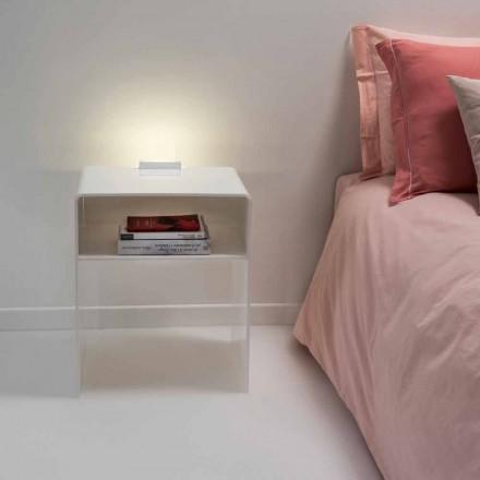 Table de chevet blanche lumineuse à LED Adelia