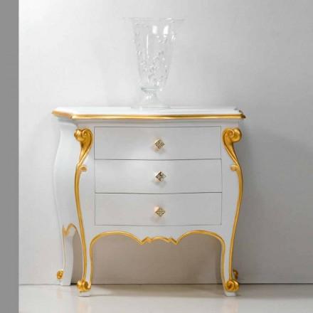 Table de nuit design classique avec profil en or Bio, made in Italy