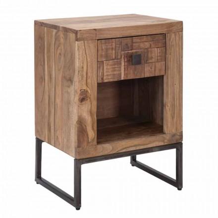 Table de chevet design avec tiroir en bois d'acacia et fer - Dionne