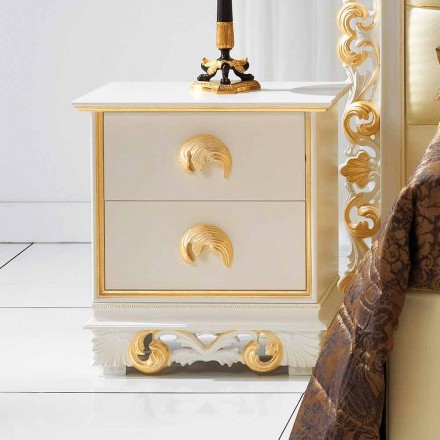 Table de nuit de design en bois avec 2 tiroirs Zucchi, made in Italy