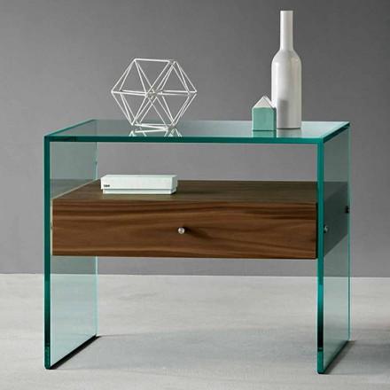 Table d'appoint design moderne en verre extraclair fabriqué en Italie - Segreto