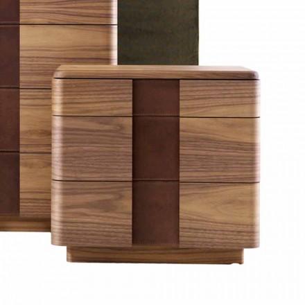 Table de chevet en bois massif de design moderne Grilli York, made in Italy