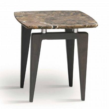 Table de chevet en marbre avec structure en bois, haute qualité Made in Italy - Raise