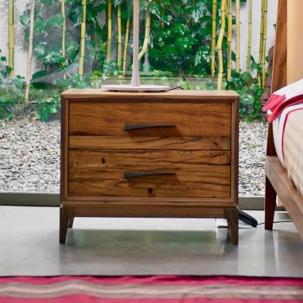 Table de nuit 2 tiroirs en chêne antique, L60 x P42 cm, Margo