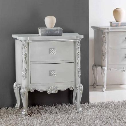 Table de nuit design classique bois massif, boutons en cristal Bone