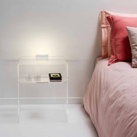 Table de chevet transparente lumineuse à LED Adelia
