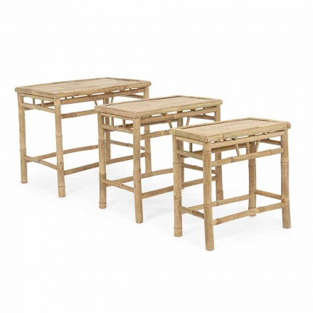 Set 3 tables de jardin design rectangulaires en bois de bambou - Blumele