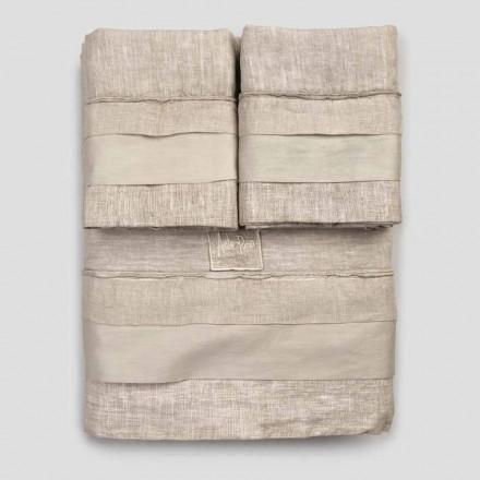 Parure de lit double en lin clair et volants - Balzis