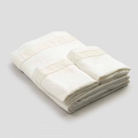 Parure de lit double en lin clair avec gaufrage - Goffro