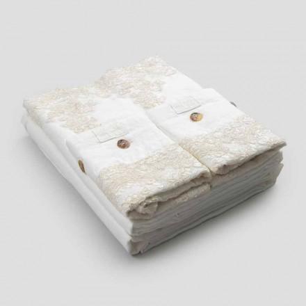 Parure de lit double en lin clair et dentelle élégante - Gantelo