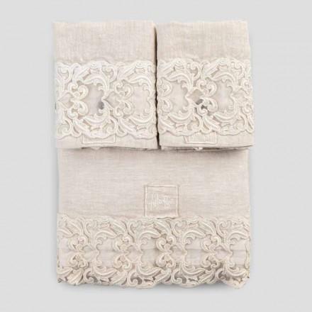 Ensemble de draps pour lit double en lin clair et dentelle Farnèse - Arnesino