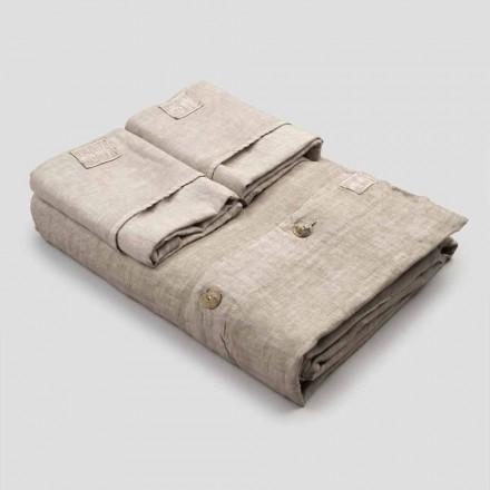 Ensemble de draps double en lin clair avec boutons et rabat - Laudis