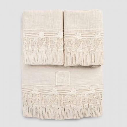 Ensemble de draps en lin clair pour lit double avec pompons en dentelle - Filippus
