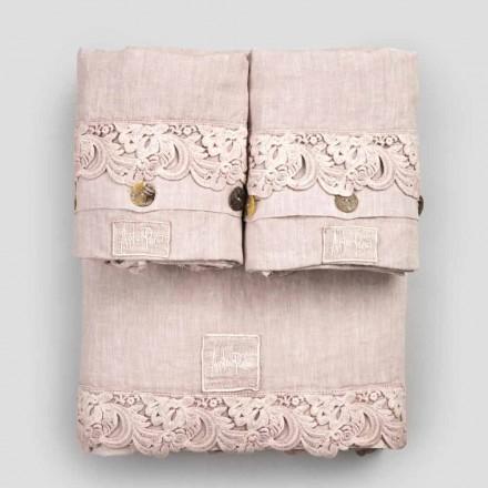 Ensemble de draps 2 couleurs en lin clair et dentelle Armonia pour lit double - Dettox