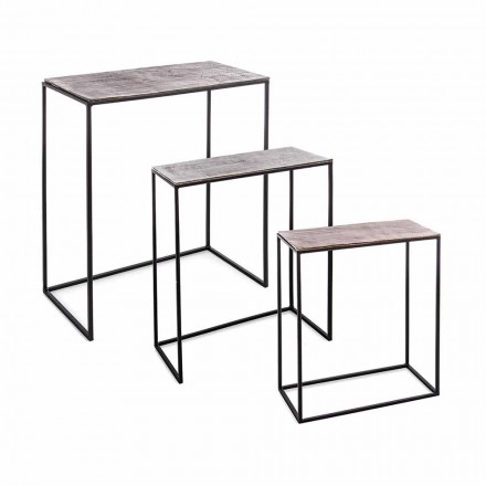Composition 3 Tables Basses en Aluminium et Acier Homemotion - Salvio