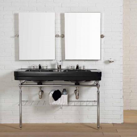 Set salle de bain avec console double noir sur structure Double