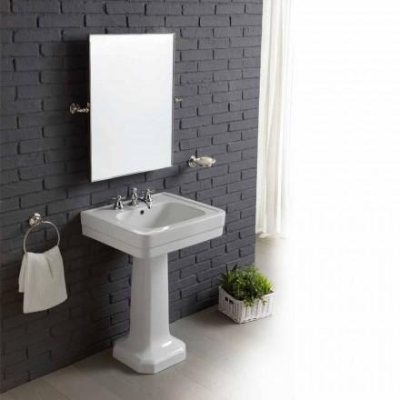 Set salle de bain avec lavabo sur colonne en céramique blanche Ania